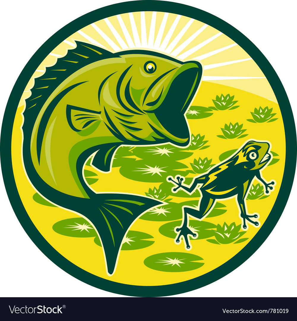 Bass fishing icon vector image