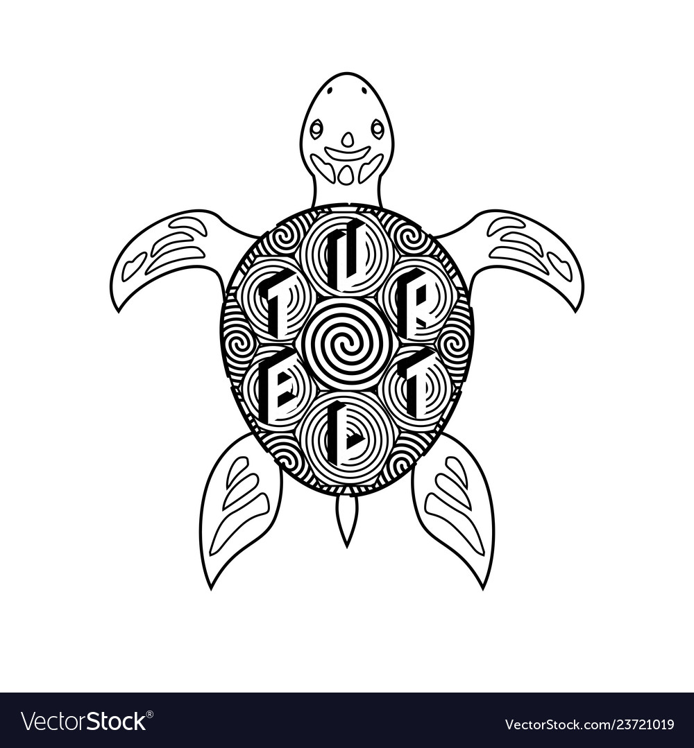 Black and white turtle coloring book