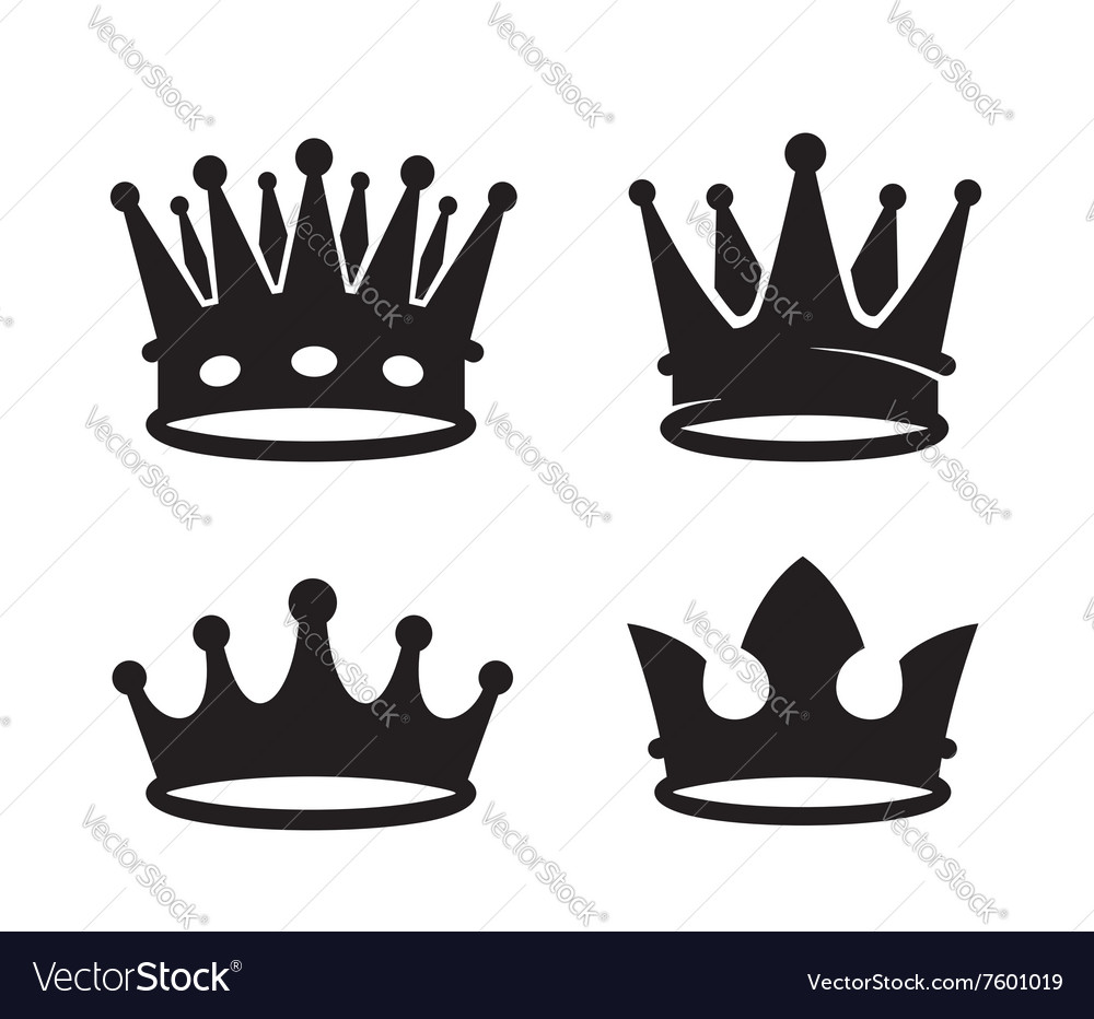 Black crown icons vector image