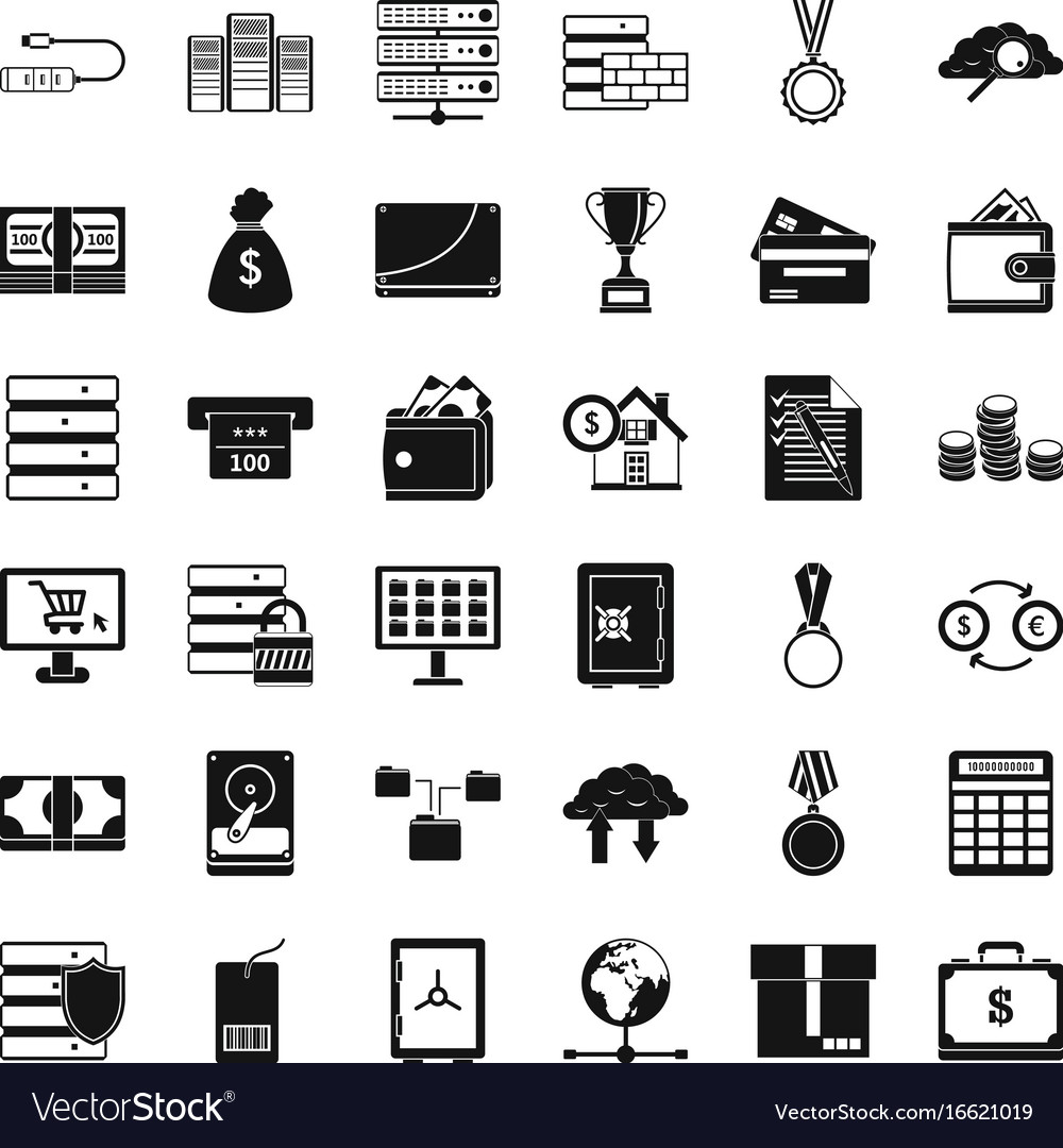 Business Card Icons Set Simple Style Vector Image