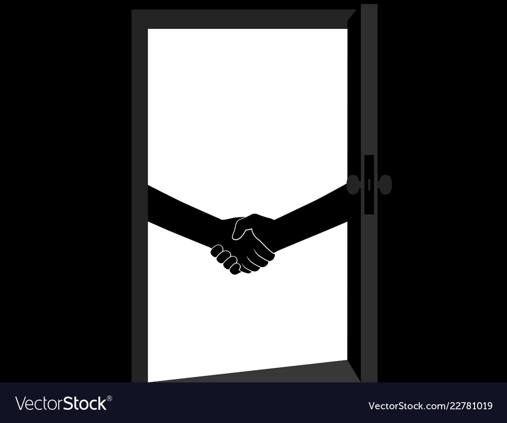 Business handshake behind the door contract