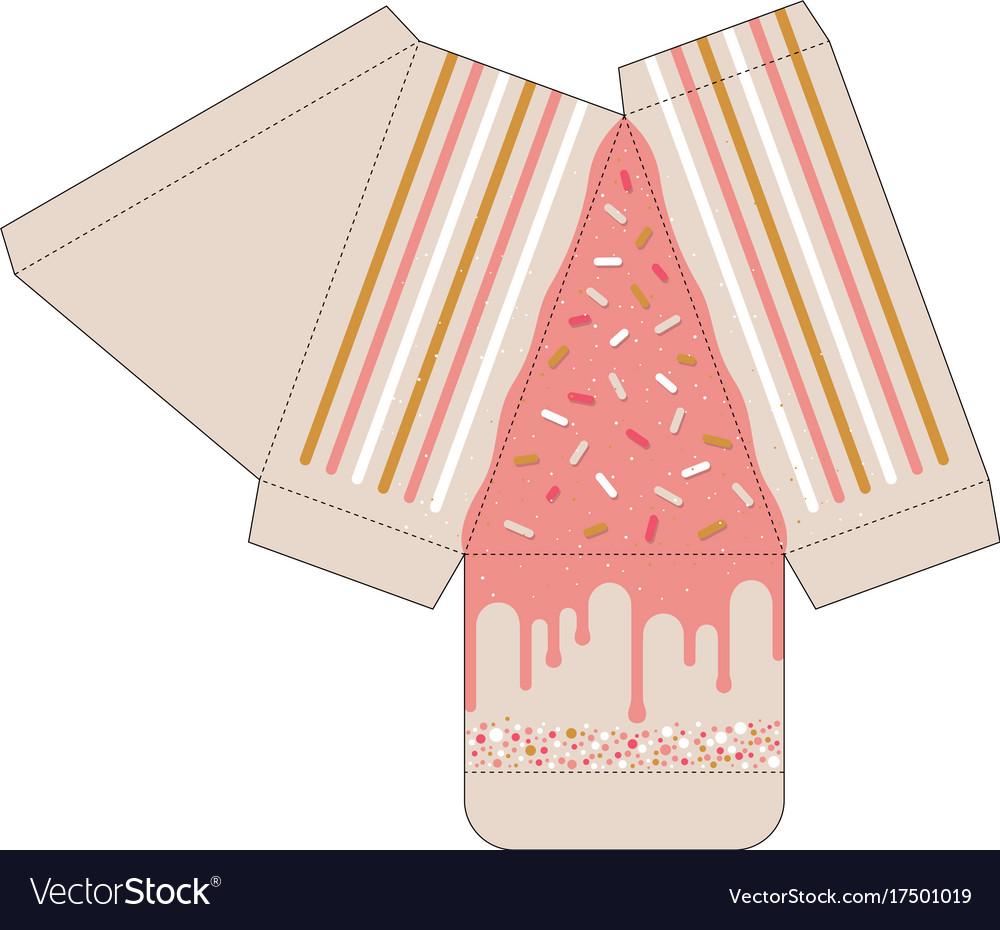 Cake slice box cutout template favor box Vector Image