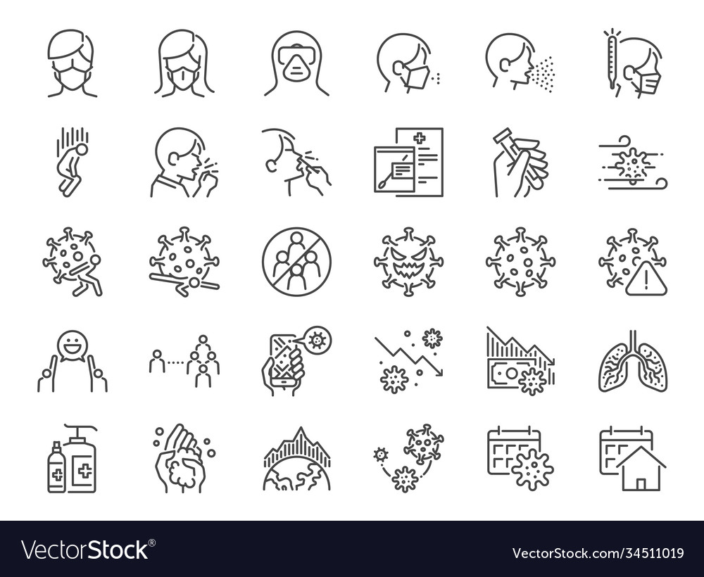 Coronavirus protection line icon set