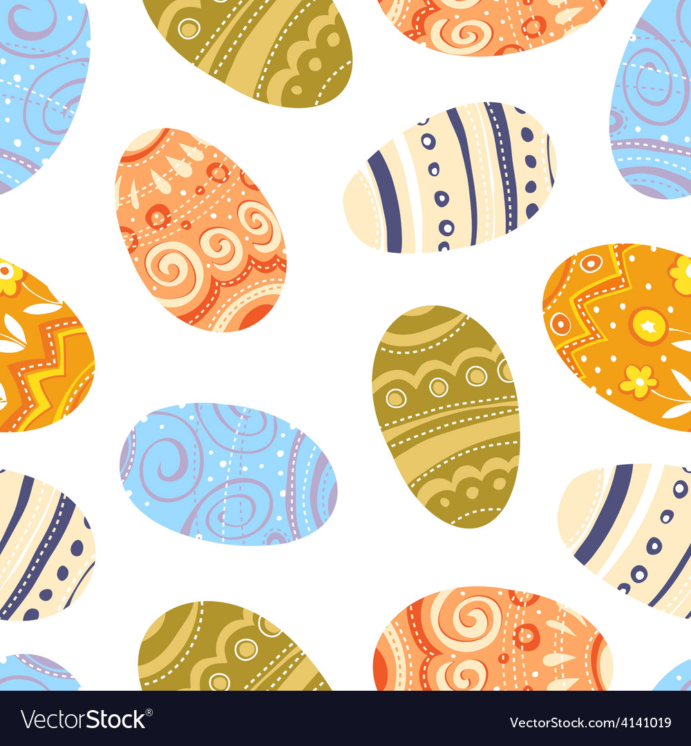 Easter eggs seamless pattern white background