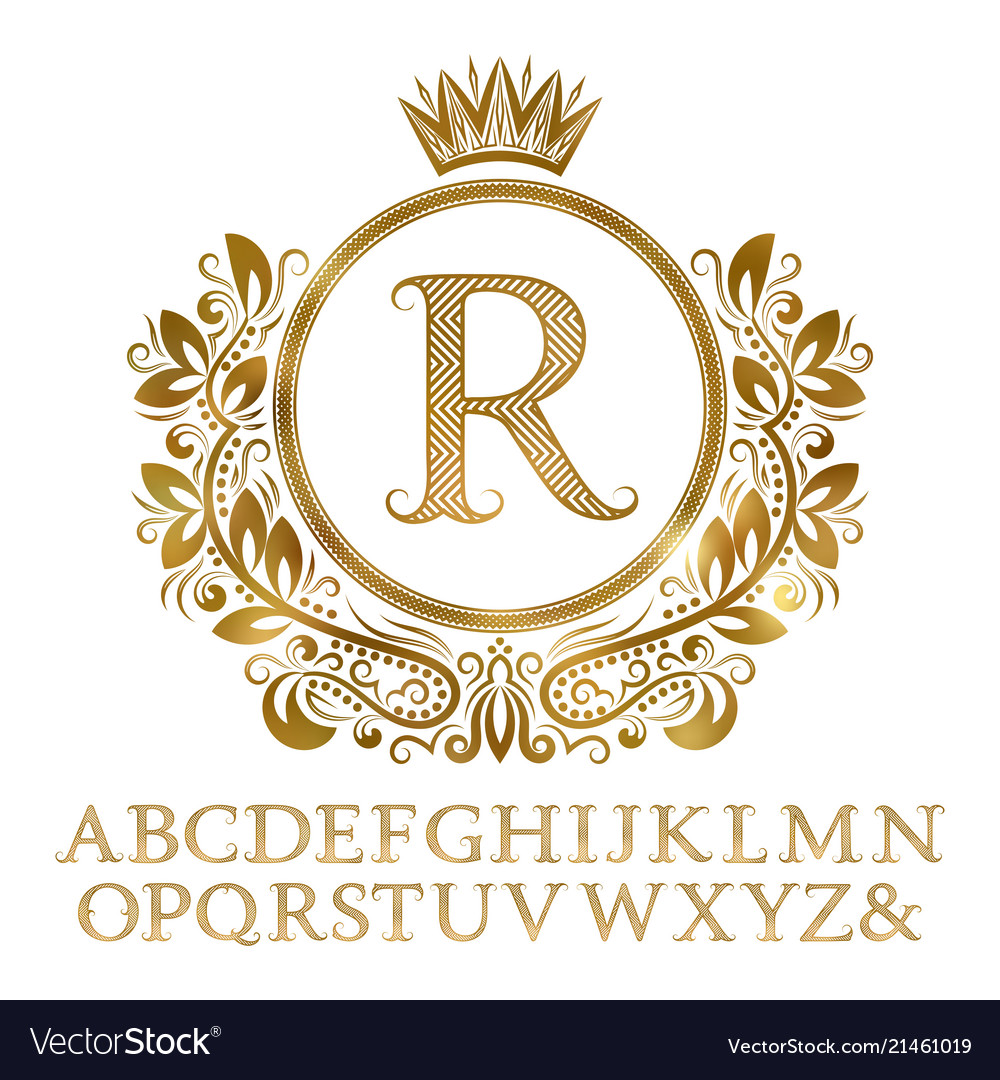 Golden patterned letters with initial monogram