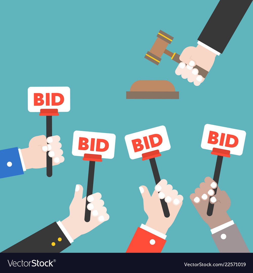 Hand hold bid sign and judge hammer auction