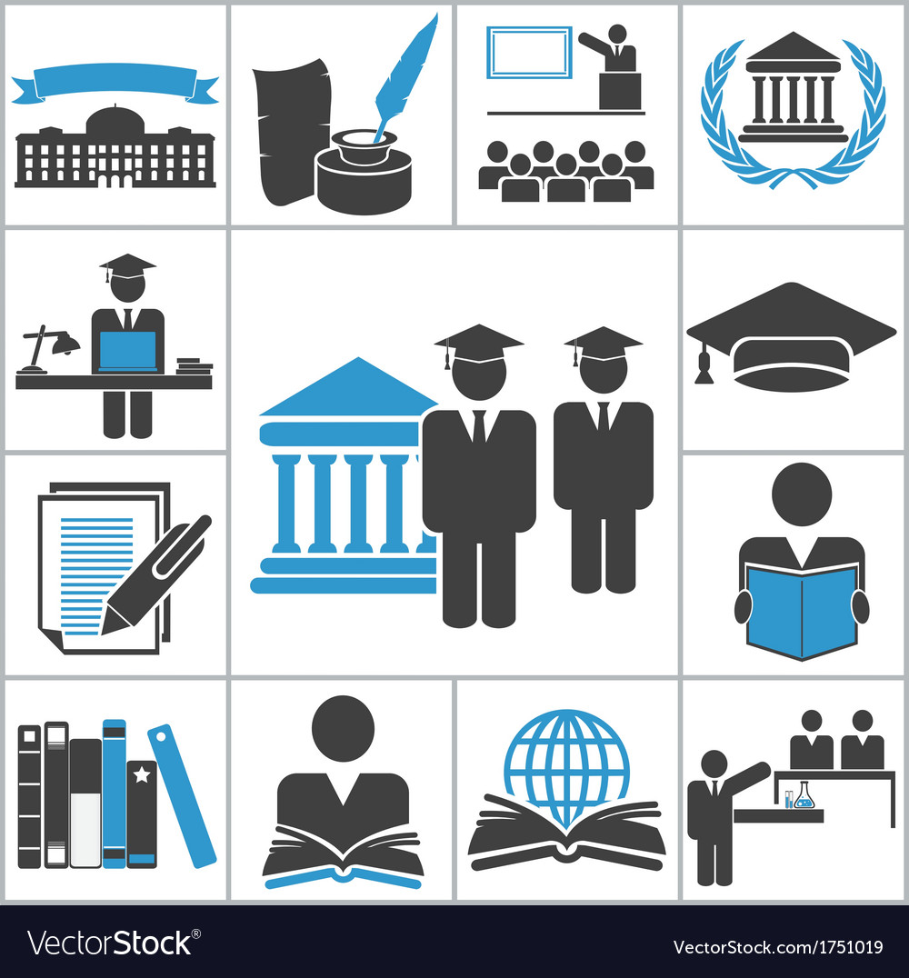 High education icons vector image