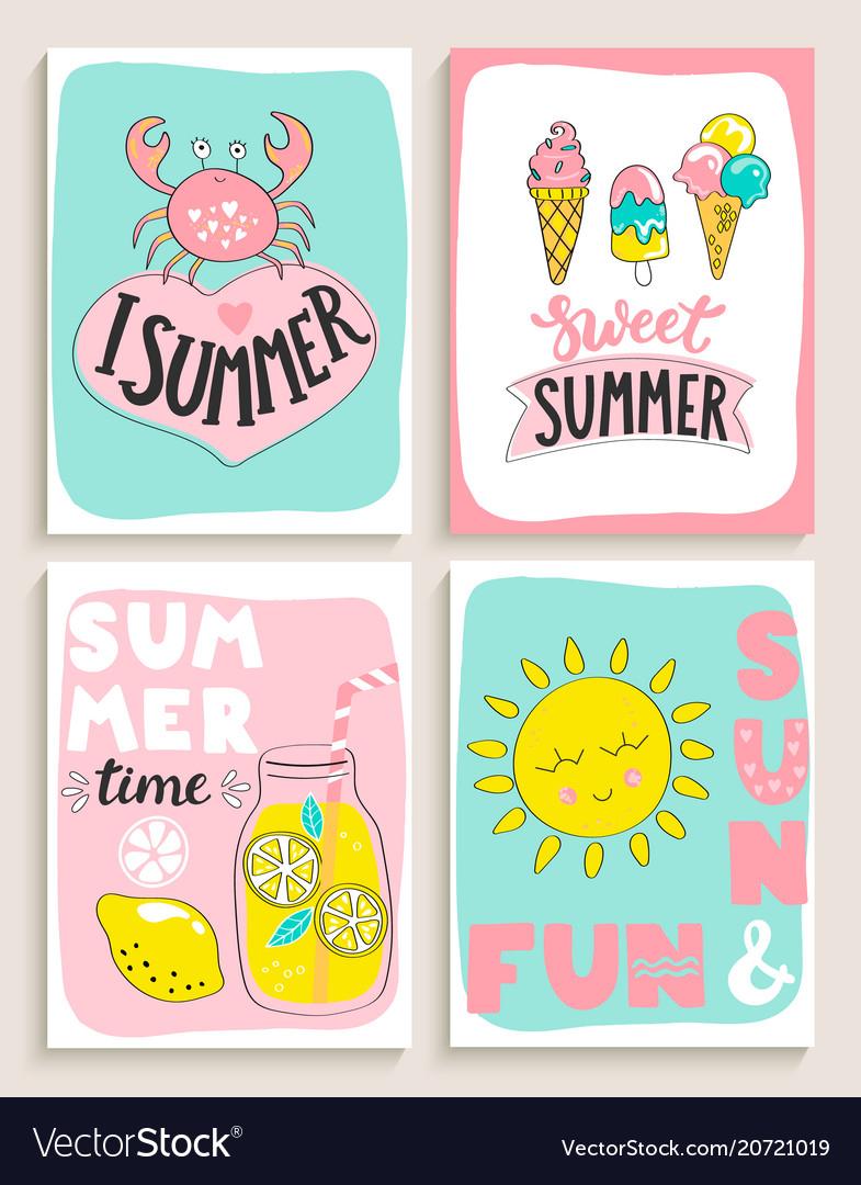 Set of 4 bright summer cards