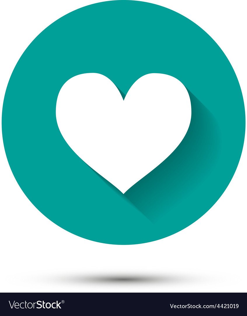White heart icon on green background with shadow