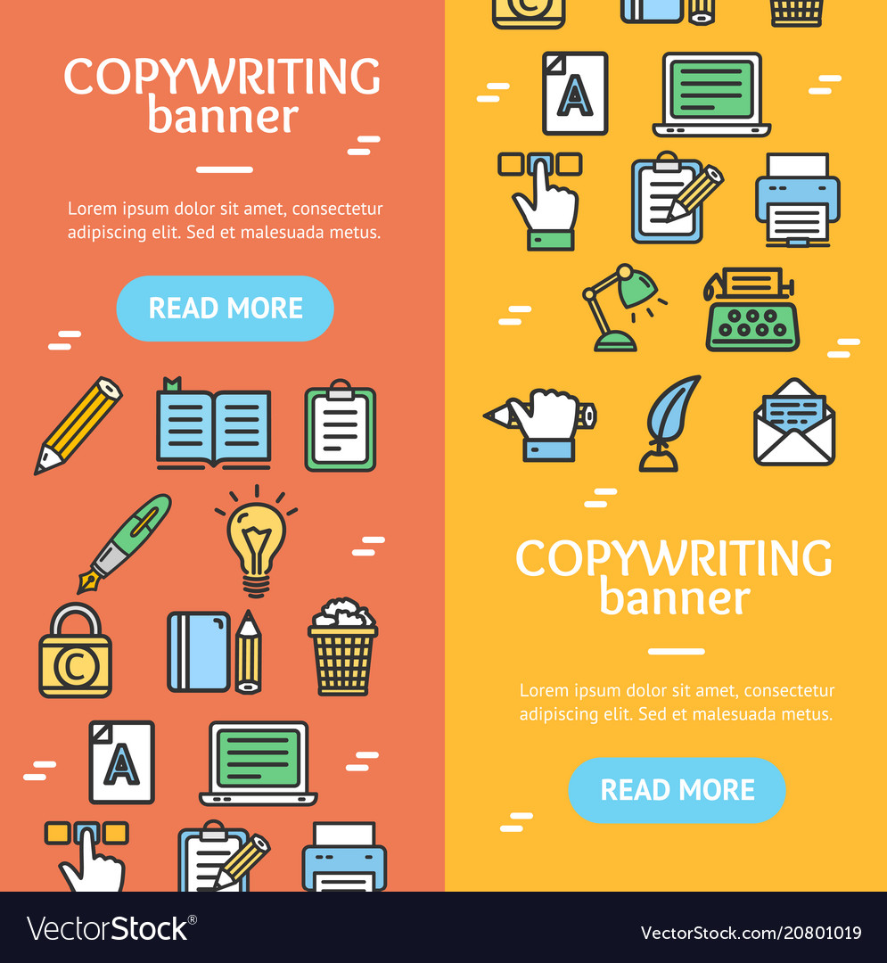 Writer and copywriting signs banner vecrtical set