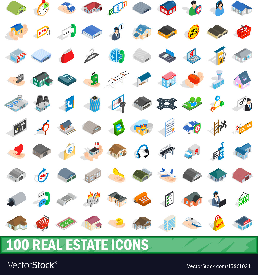 100 real estate icons set isometric 3d style