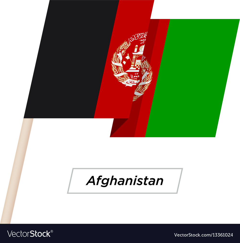 Afghanistan ribbon waving flag isolated on white