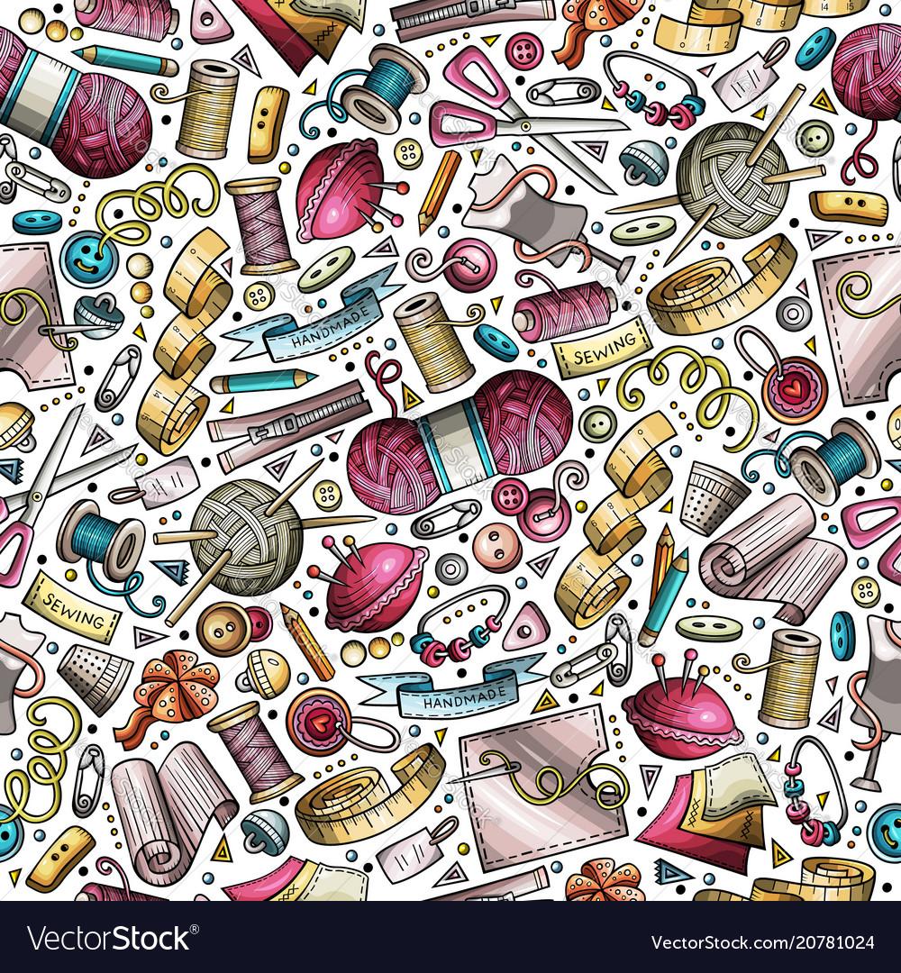 Cartoon cute hand drawn handmade seamless pattern