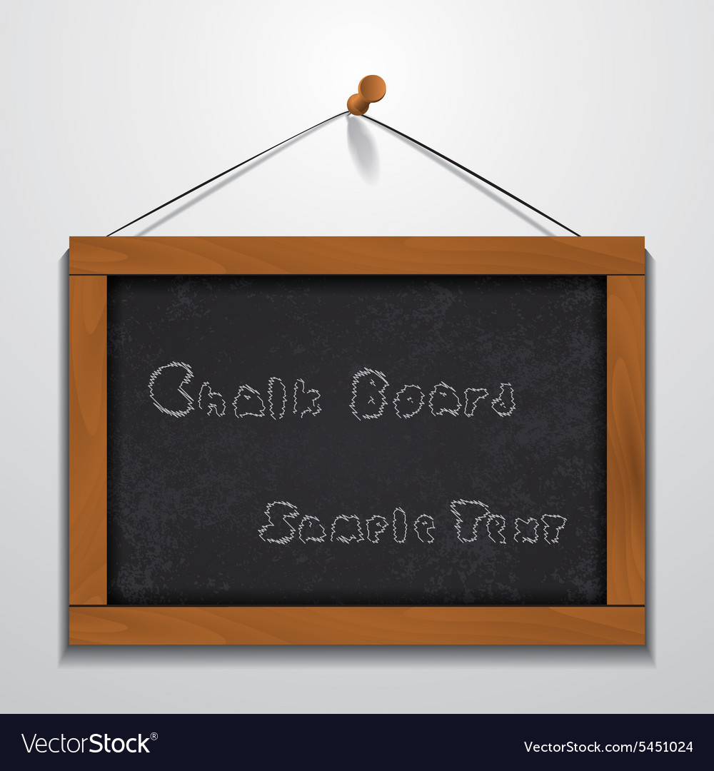 Chalkboard wood frame hanging on wall Royalty Free Vector