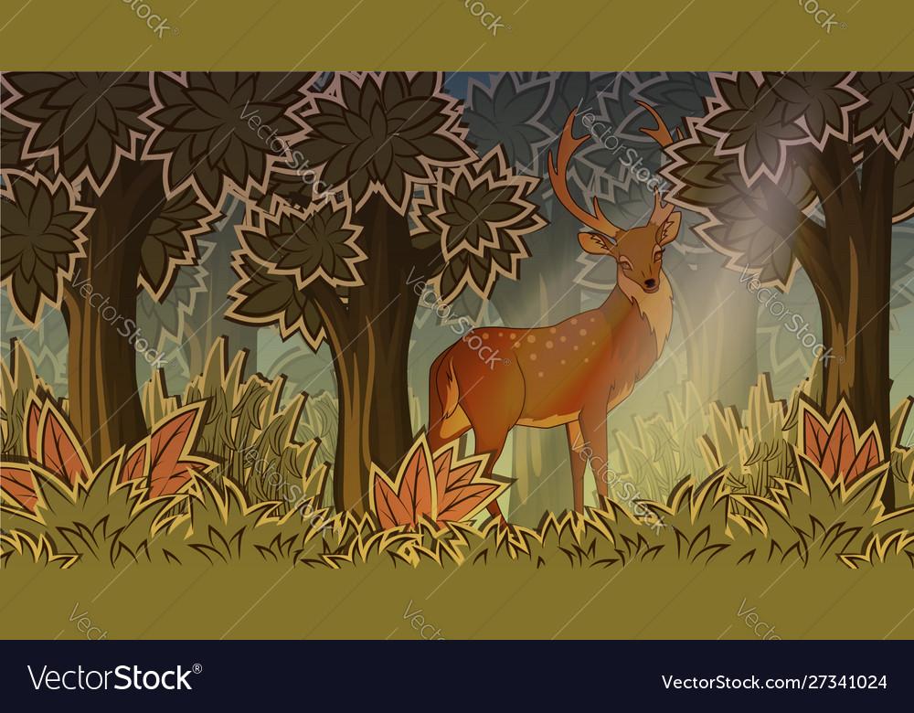 Deer in forest cartoon style