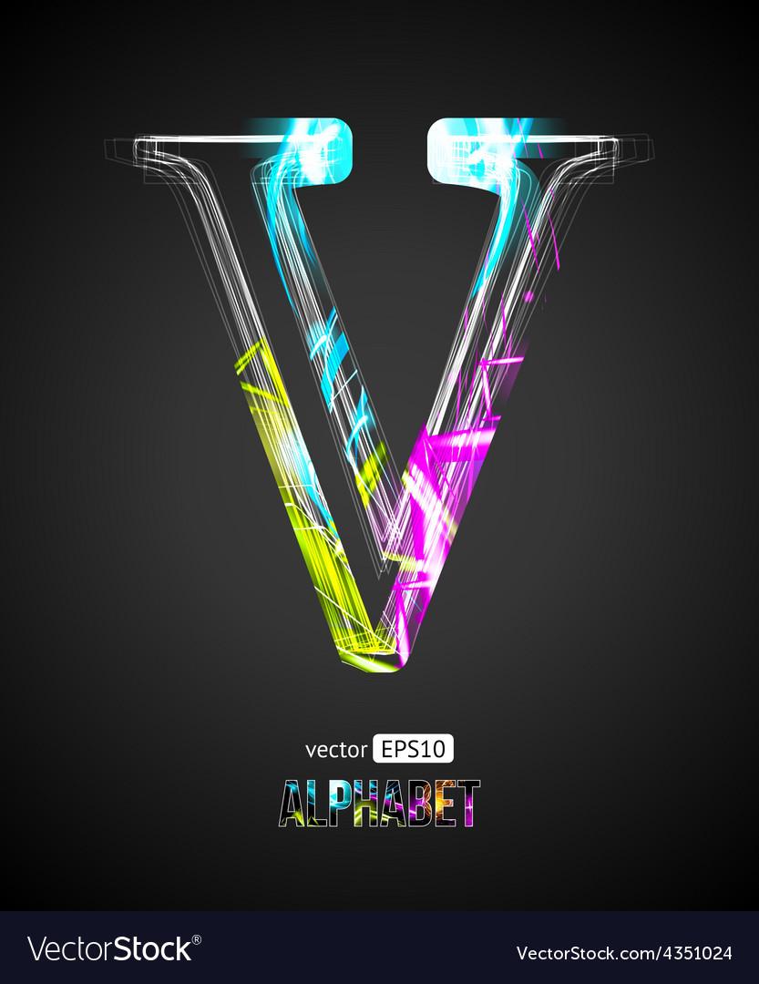Design Light Effect Alphabet Letter V