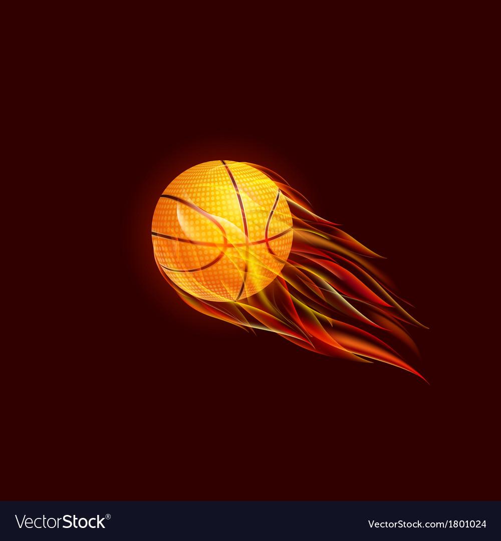 Flying Baseball Ball in Flame vector image