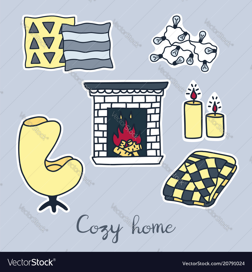 Hand drawn stickers set of hygge elements cozy vector image