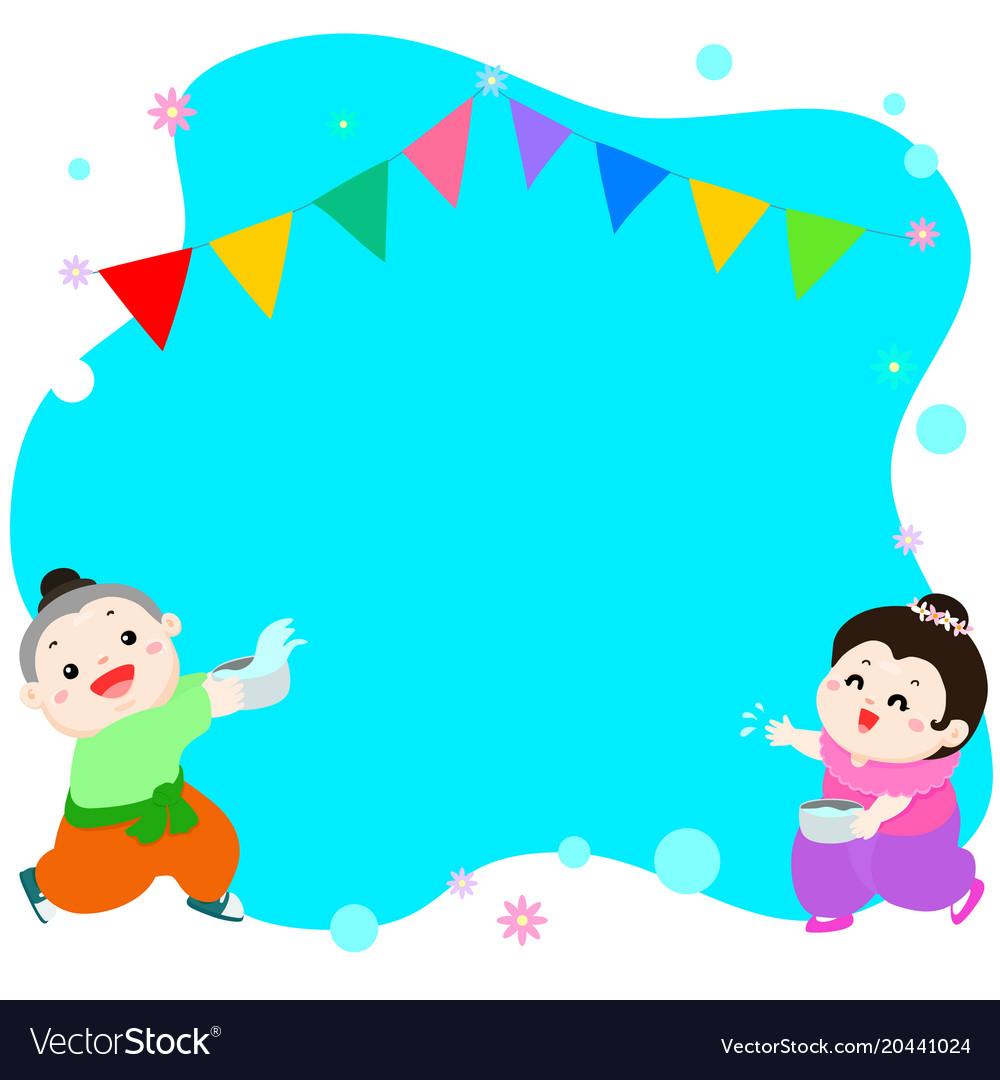 Happy boy and girl splashing in songkran festival