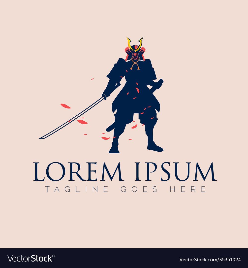 Japanese swordman warrior silhouette