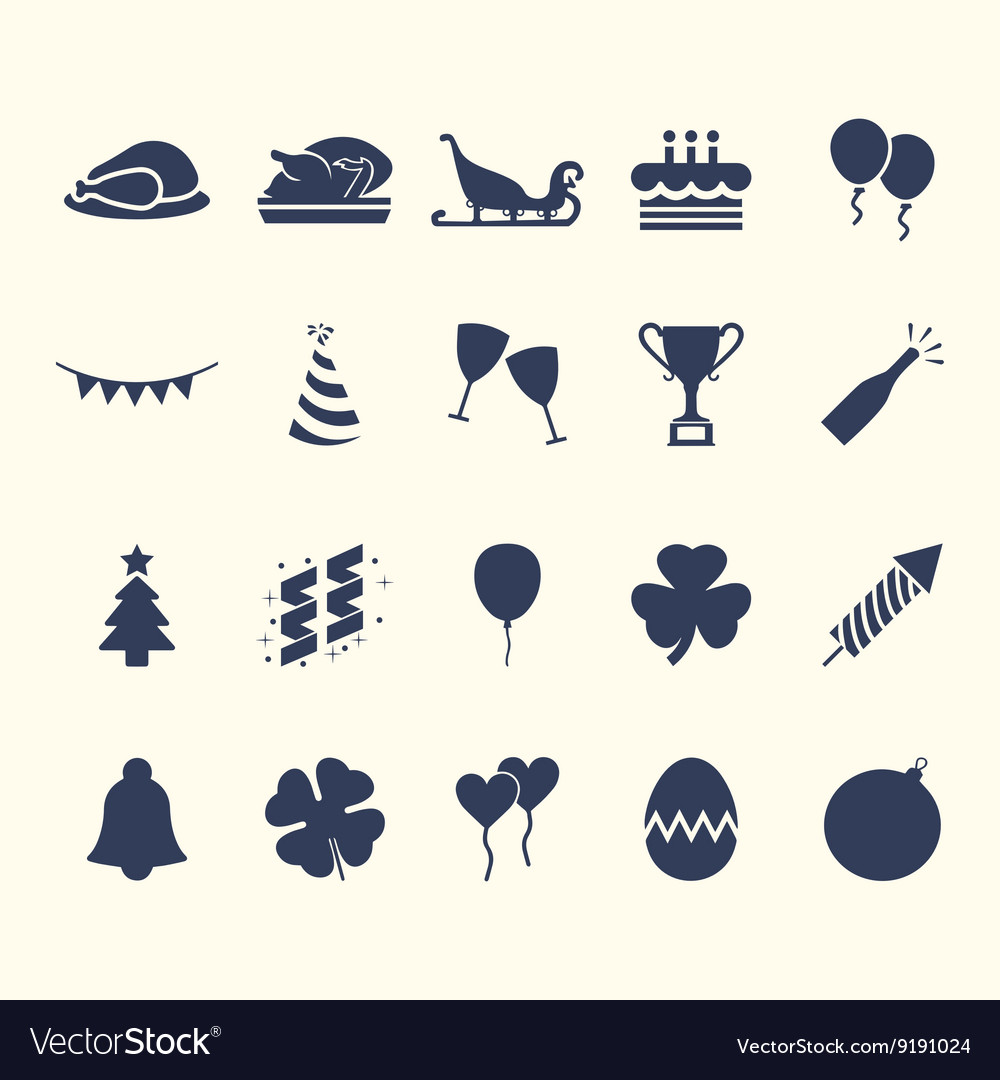 Party-Celebration Web Icon Set Design vector image