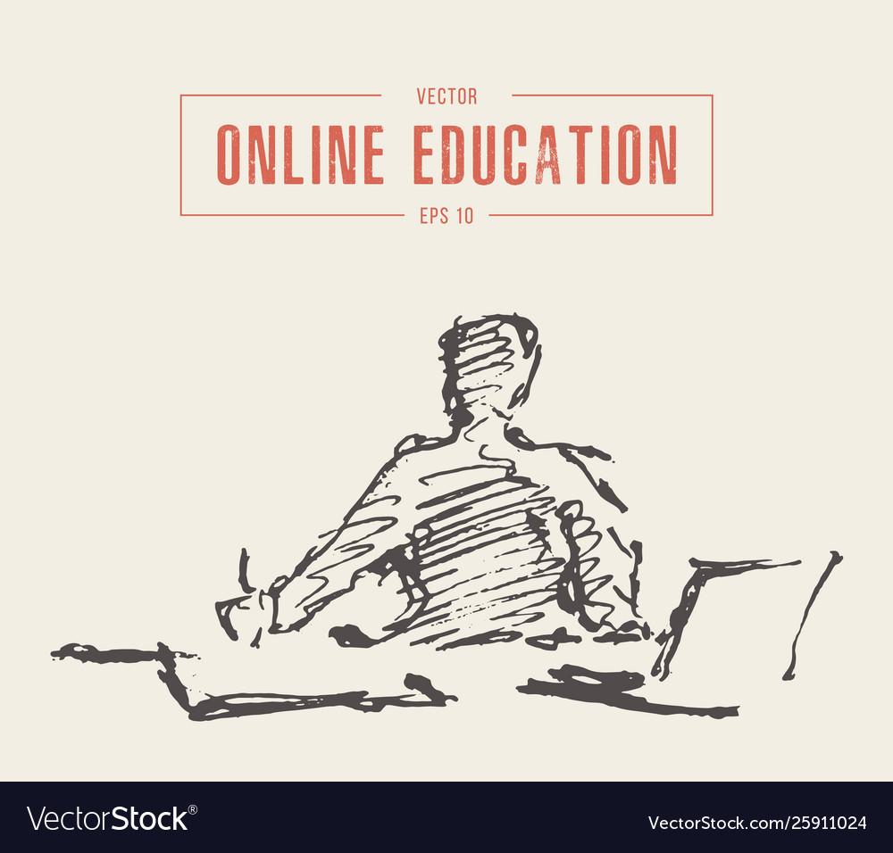 Person computer online courses education a