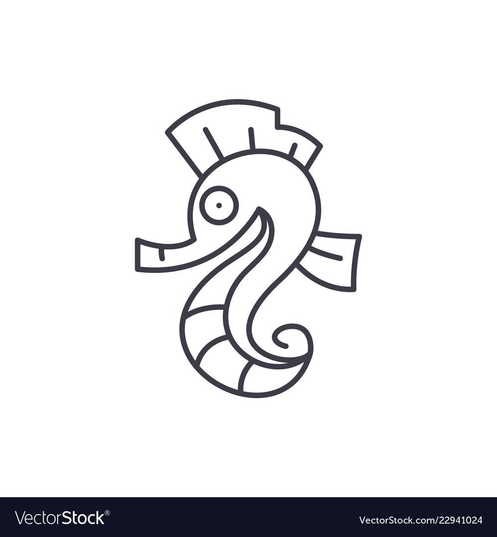 Sea horse line icon concept sea horse