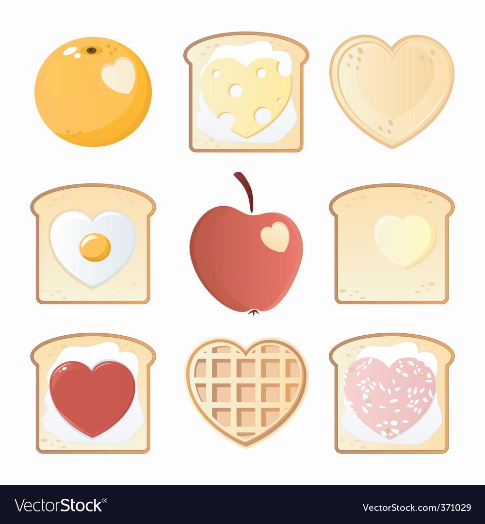 Breakfast love icons vector image