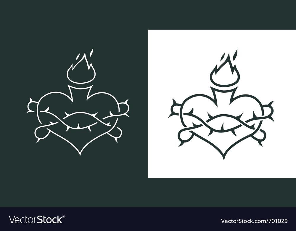 Burning heart tattoo