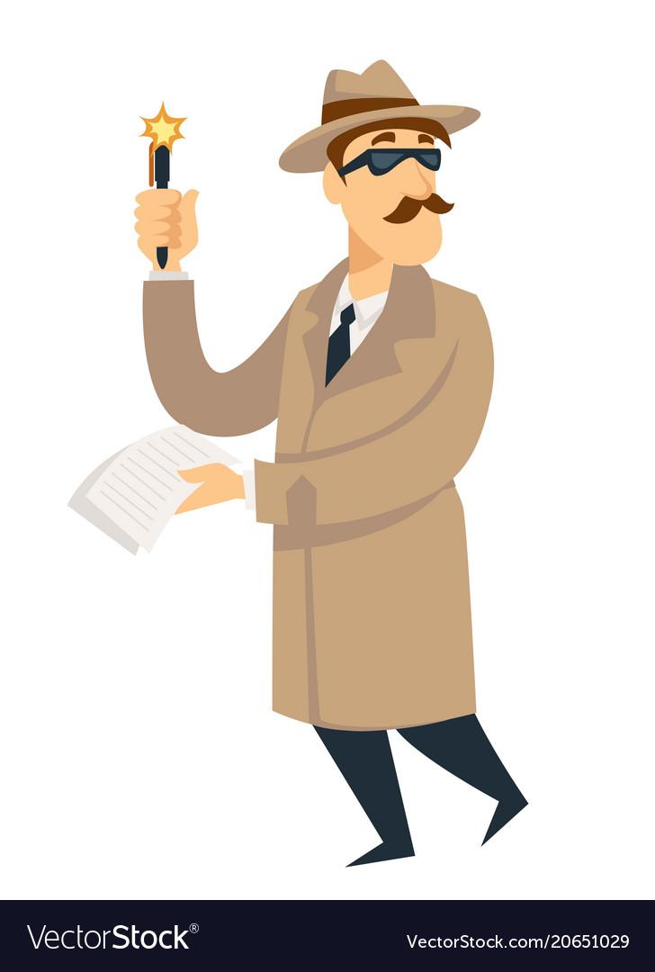 Detective agent man on investigation