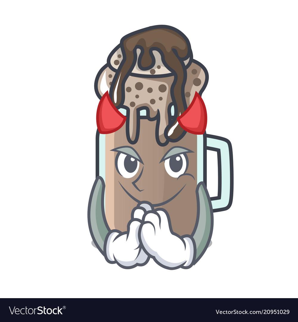 Devil milkshake mascot cartoon style