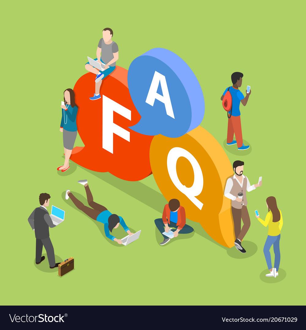 Faq flat isometric concept