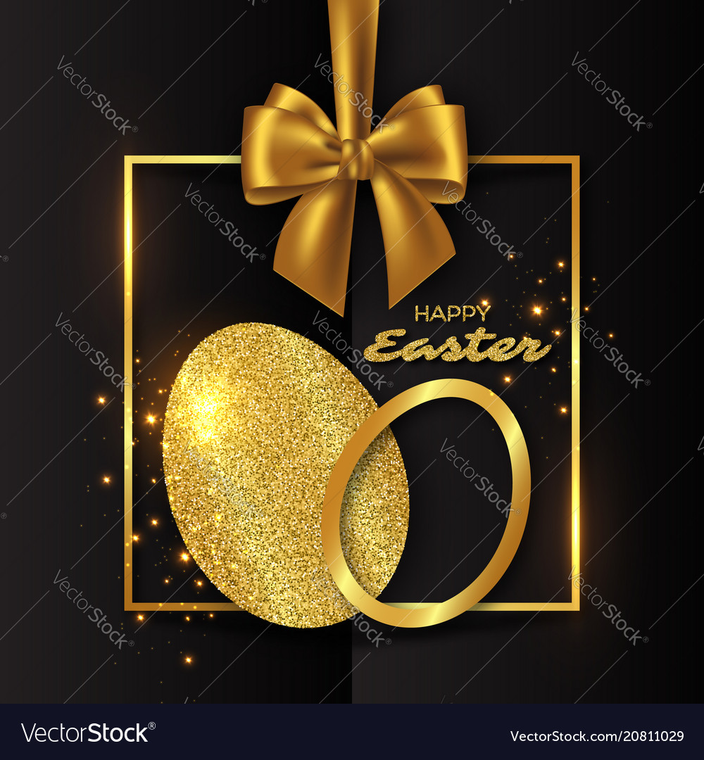 Golden eggs on the isolated black background