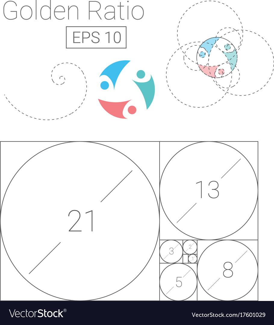 Golden ratio template logo fibonacci