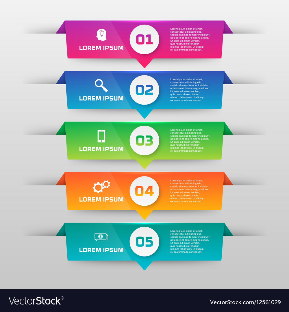 Infographics template with five options in