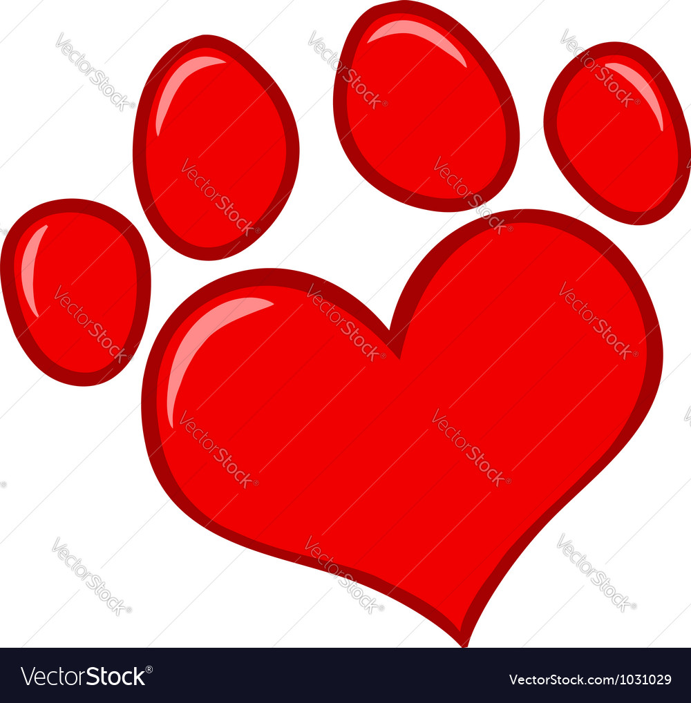 love paw print royalty free vector image vectorstock rh vectorstock com paw print vector art paw print vector clip art