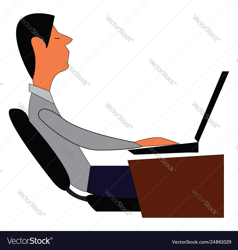 Man working on laptop at his desk print on white