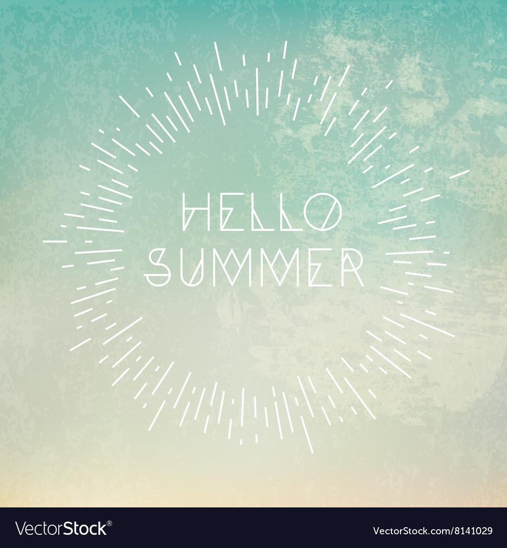 Phrase Hello Summer on grunge blue background