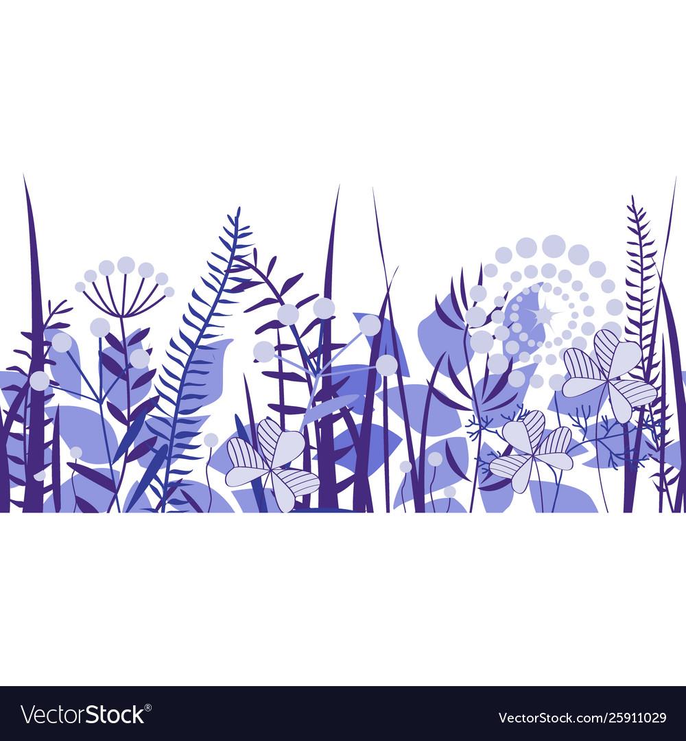 Seamless border hand drawn wildflowers