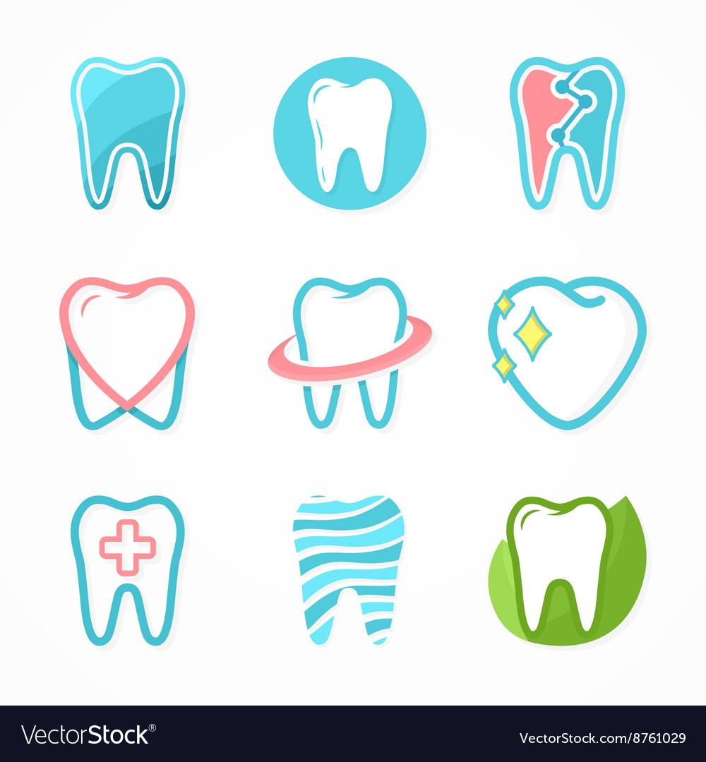 Set of tooth logo design template dental logo vector image maxwellsz