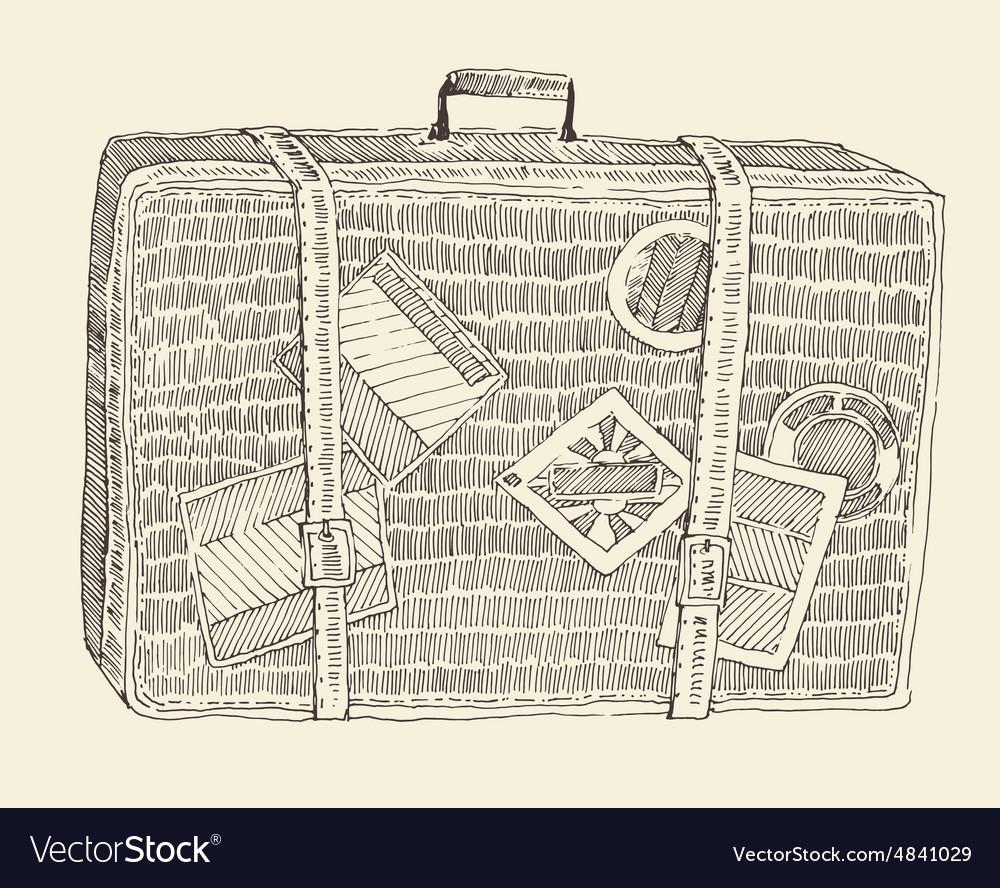Suitcase Luggage Engraved Retro Hand Drawn Sketch