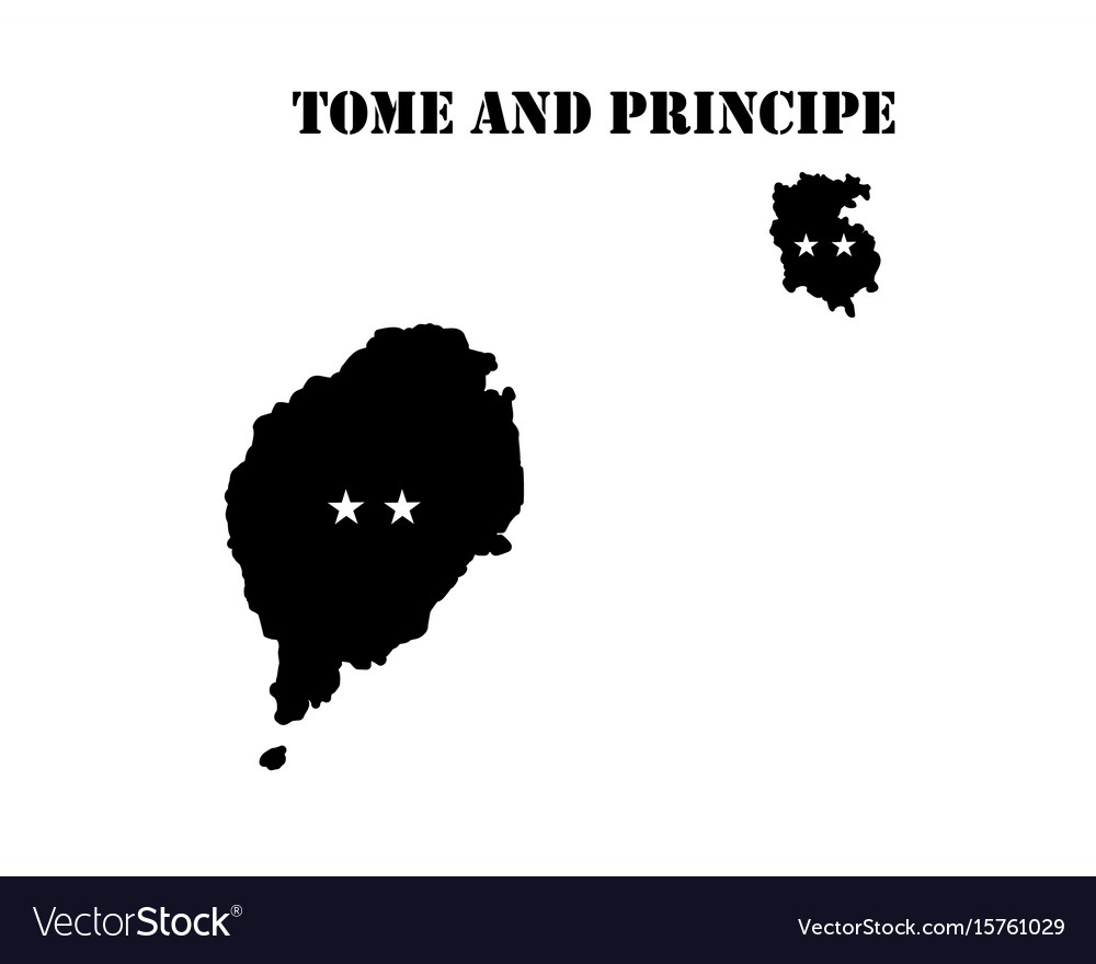 Symbol of isle of tome and principe and map