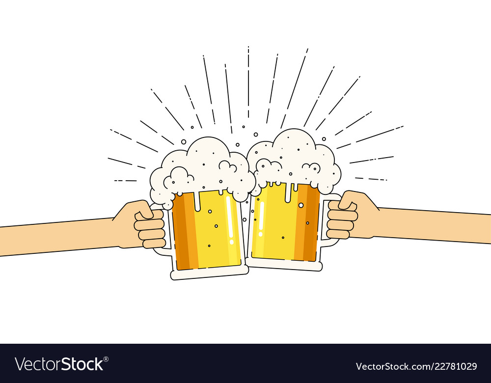 Two mugs beer in hands with a lot foam