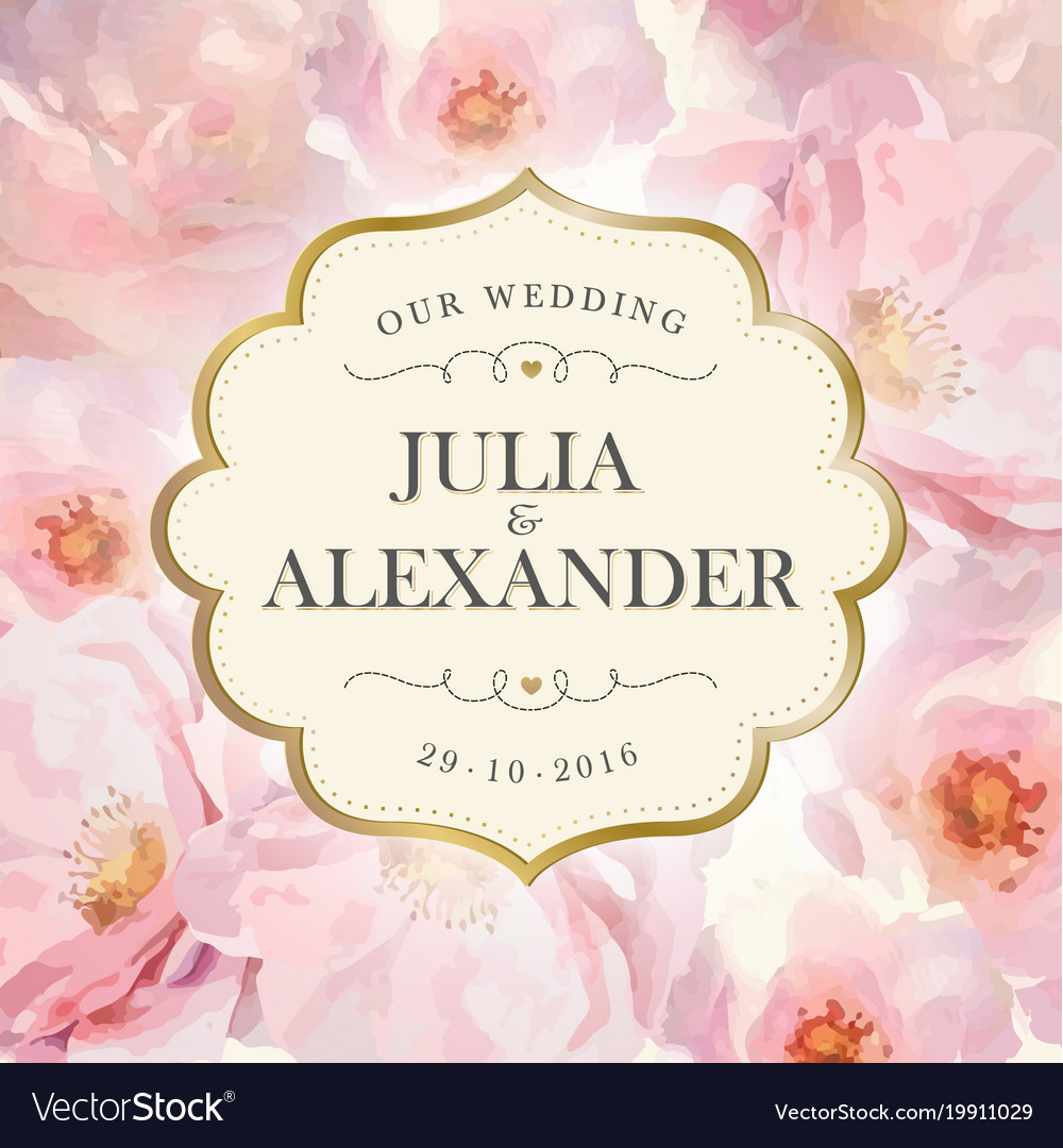 Watercolor flowers wedding invitation Royalty Free Vector