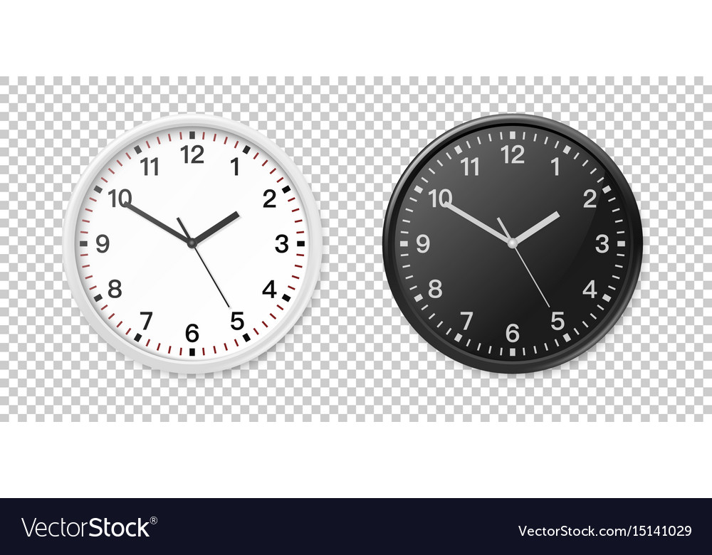 White and black wall office clock icon set design