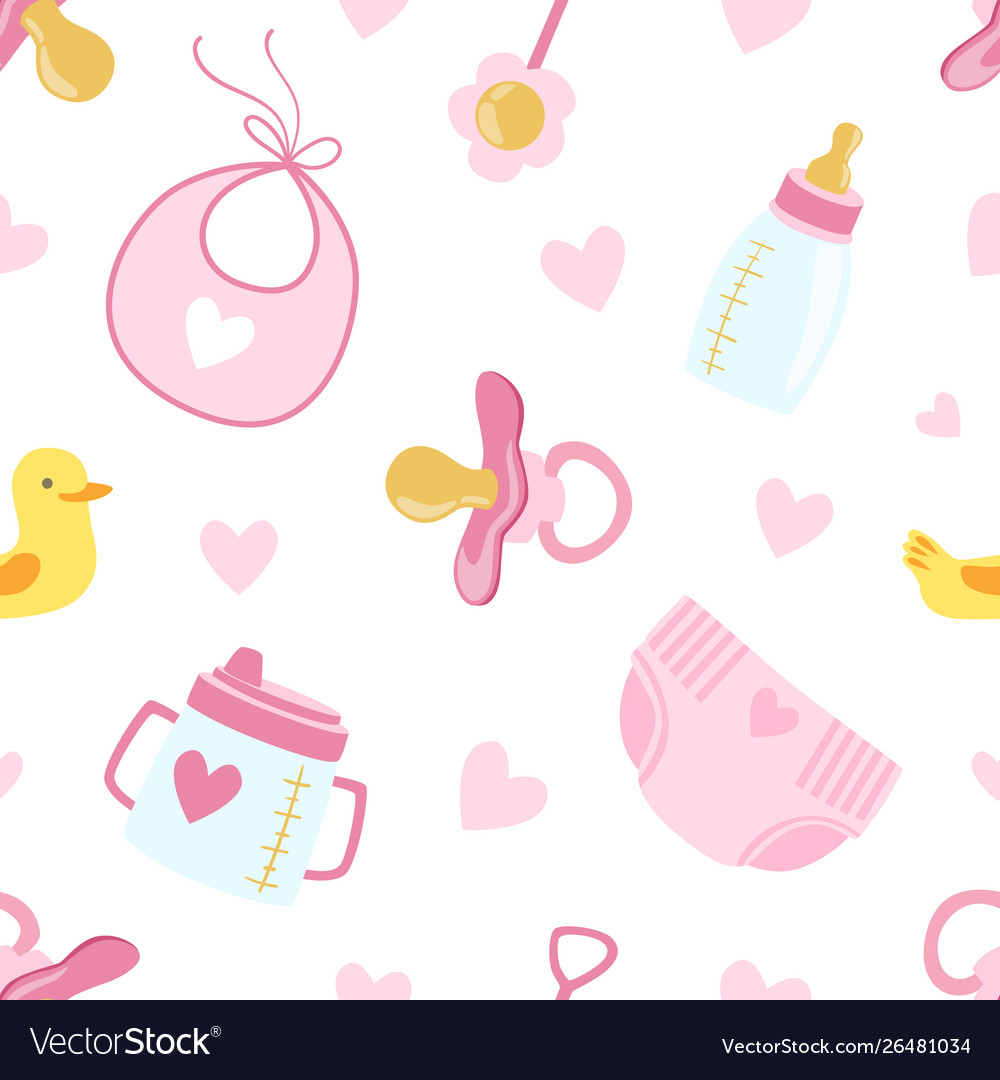 Bagirl shower seamless pattern newborn baby