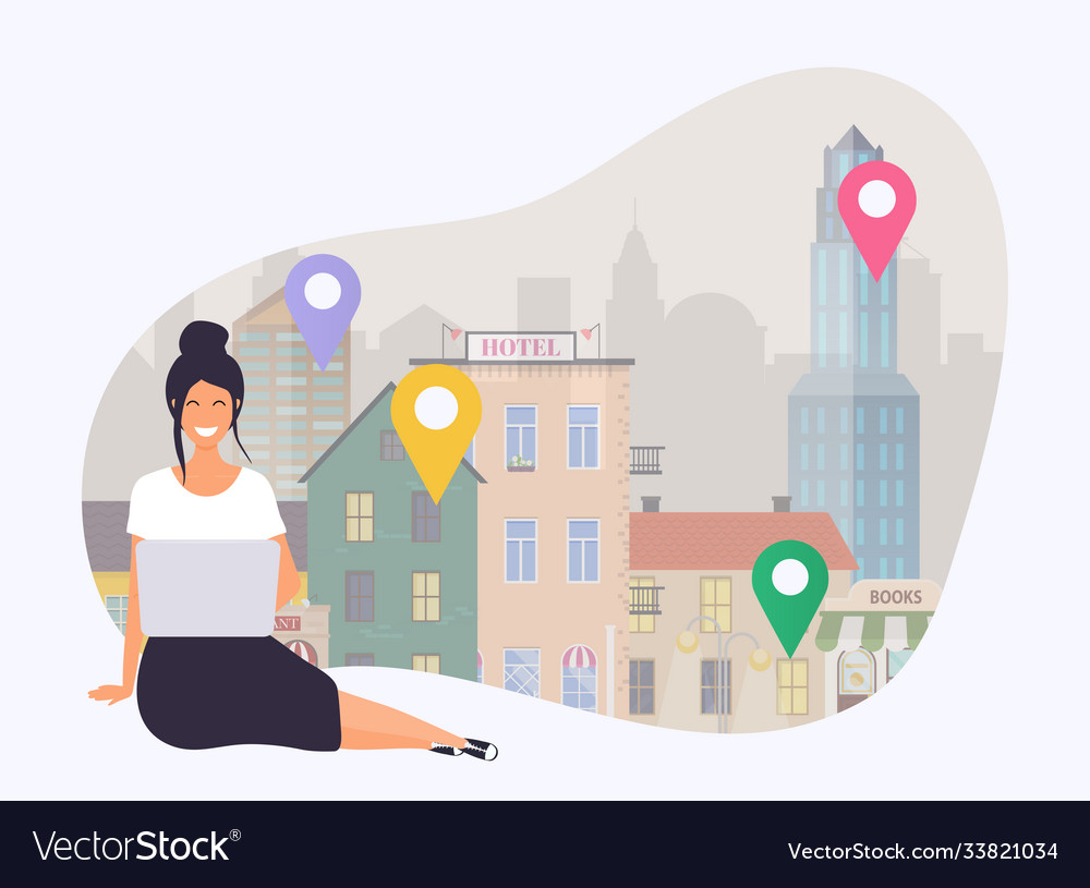 Business woman with a laptop search a apartment