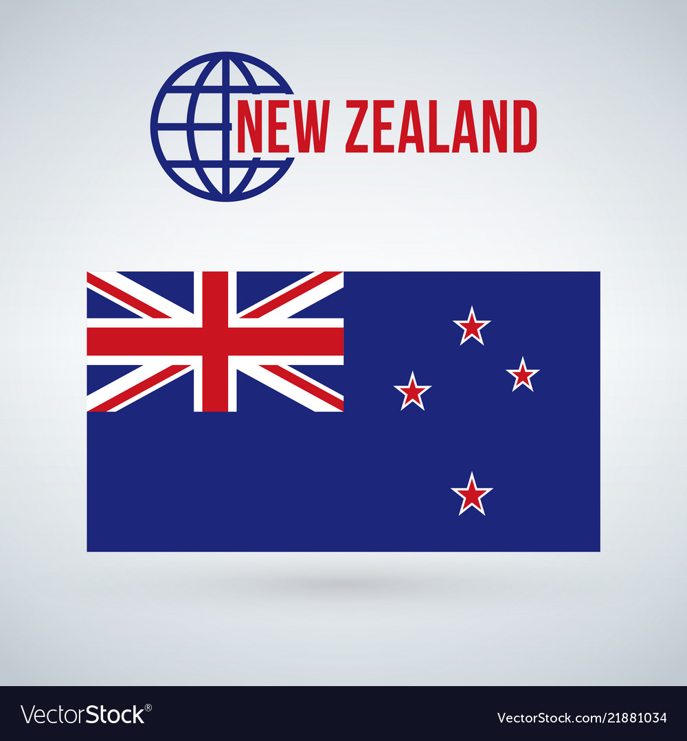 Flag of the country new zeland isolated on modern