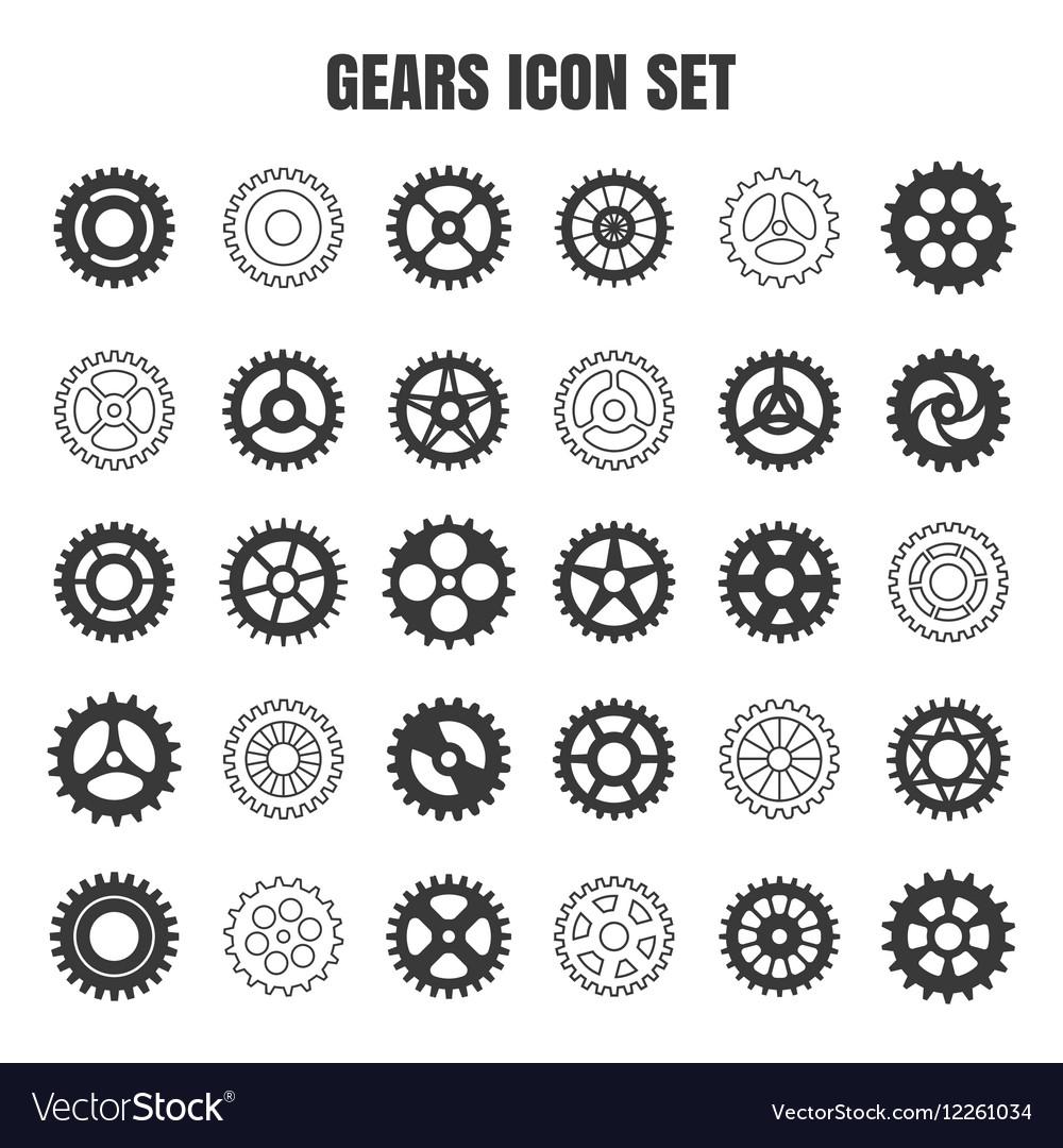 Gear cog wheel icon set vector image
