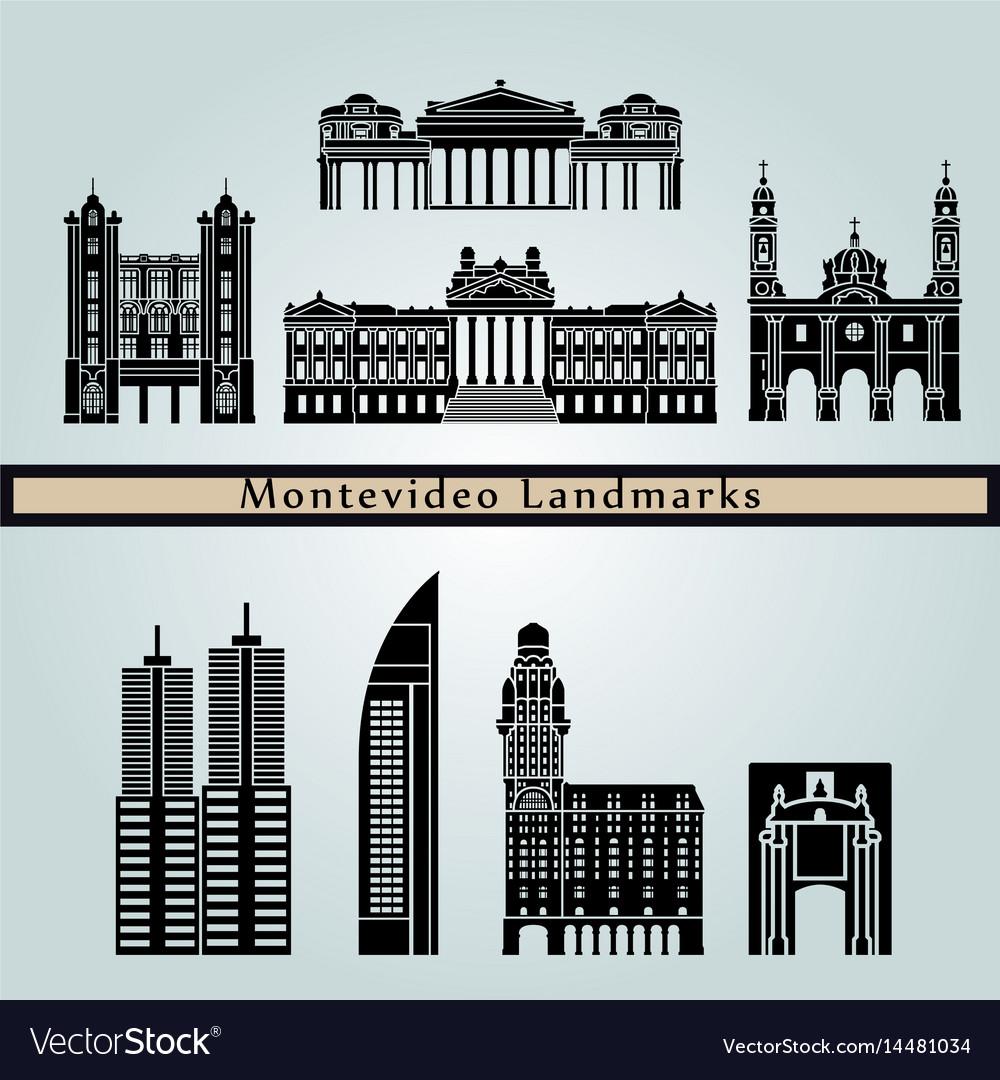 Montevideo landmarks vector image